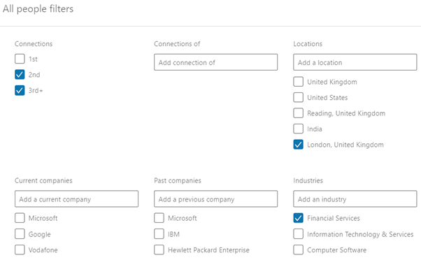 LinkedIn Prospect Search Example